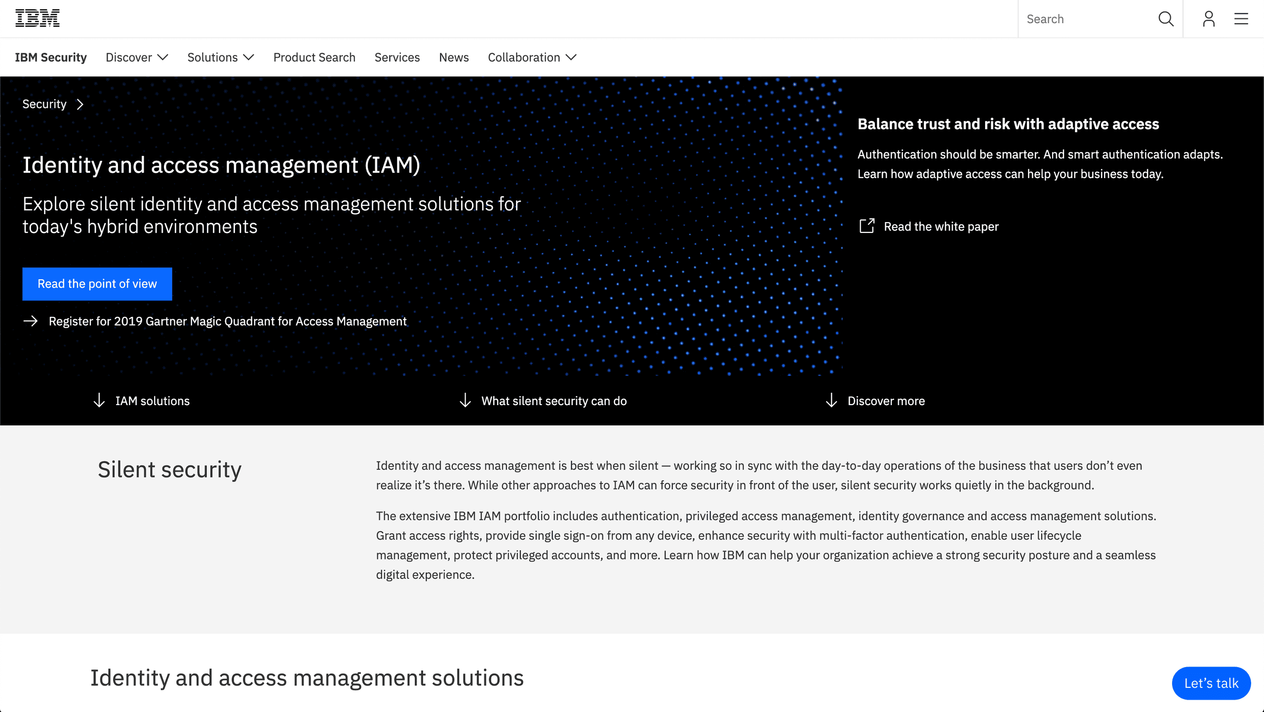 A picture that shows the top part of IBM's website.